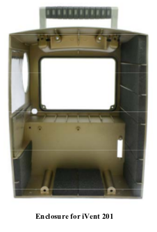 M1161953  iVent 201 Back Panel Assembly for GE/Versamed iVent 201 Ventilator. Also available for DHHS (Yellow) units.